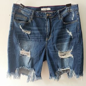 Distressed denim plus size jean shorts sz 1x